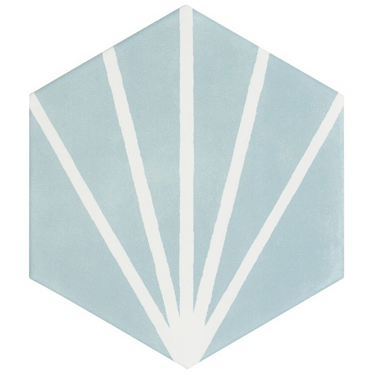 "HexArt Deco Turquoise 8"" Hex Matte Porcelain Tile; in Turquoise + Green + Blue + White Lines Porcelain; for Backsplash, Floor Tile, Wall Tile, Bathroom Floor, Bathroom Wall, Shower Wall, Outdoor Wall, Commercial Floor; in Style Ideas Mid Century, Transitional, Whimsical"