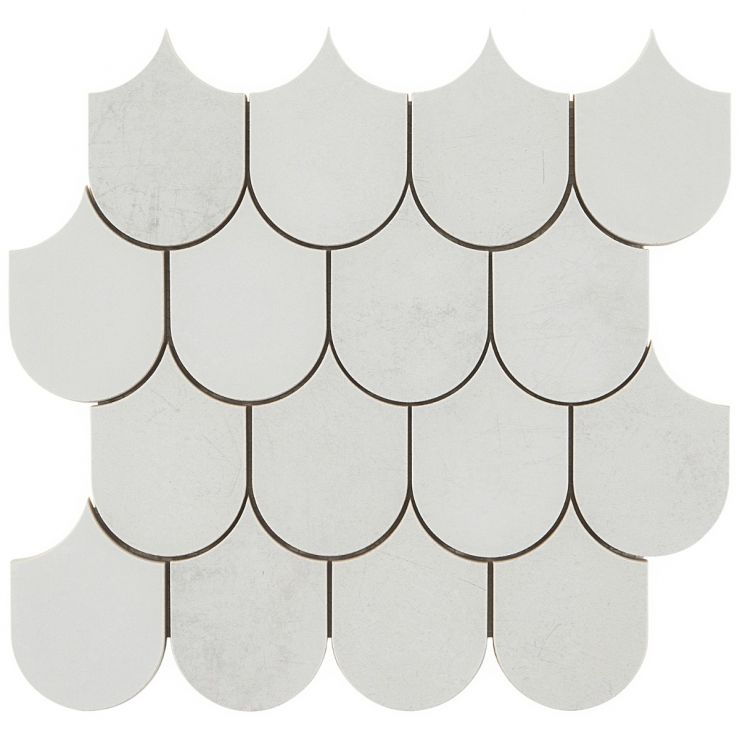 Bond Palladium Plume Matte Porcelain Mosaic; in White Porcelain; for Backsplash, Floor Tile, Wall Tile, Bathroom Floor, Bathroom Wall, Shower Wall, Shower Floor, Outdoor Floor, Outdoor Wall, Commercial Floor; in Style Ideas Classic, Craftsman, Contemporary, Industrial, Mid Century, Modern, Transitional