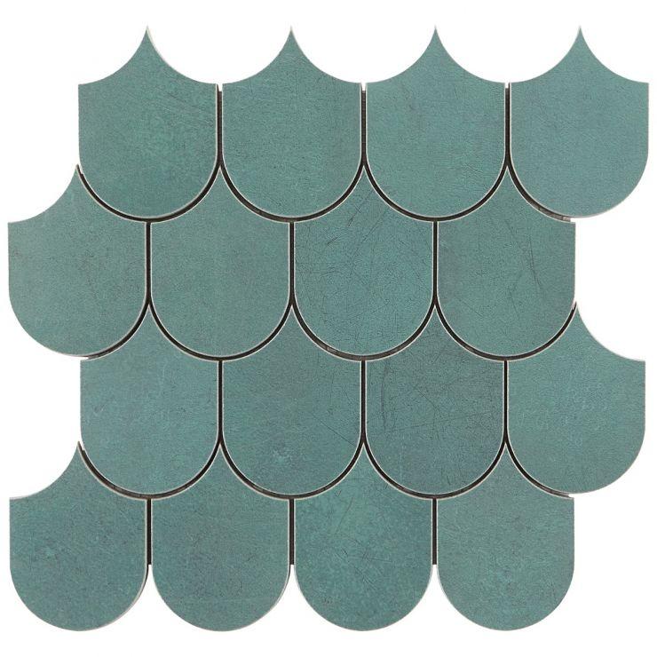 Bond Viridum Plume Matte Porcelain Mosaic; in Green Porcelain; for Backsplash, Floor Tile, Wall Tile, Bathroom Floor, Bathroom Wall, Shower Wall, Shower Floor, Outdoor Floor, Outdoor Wall, Commercial Floor; in Style Ideas Art Deco, Classic, Craftsman, Contemporary, Mid Century
