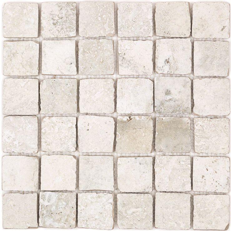 Seville Olimpia  2X2 Mosaic; in White Porcelain; for Backsplash, Floor Tile, Wall Tile, Bathroom Floor, Bathroom Wall, Shower Wall, Shower Floor, Outdoor Floor, Outdoor Wall, Commercial Floor; in Style Ideas Rustic, Beach, Craftsman, Farmhouse, Mediterranean, Traditional