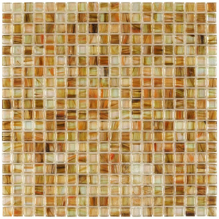 Celeste Country Breeze 1x1 Mosaic; in Iridescent, Clear Ivory, Green, Yellow + Orange Glass; for Backsplash, Wall Tile, Bathroom Wall, Shower Wall, Outdoor Wall, Pool Tile; in Style Ideas Beach, Classic