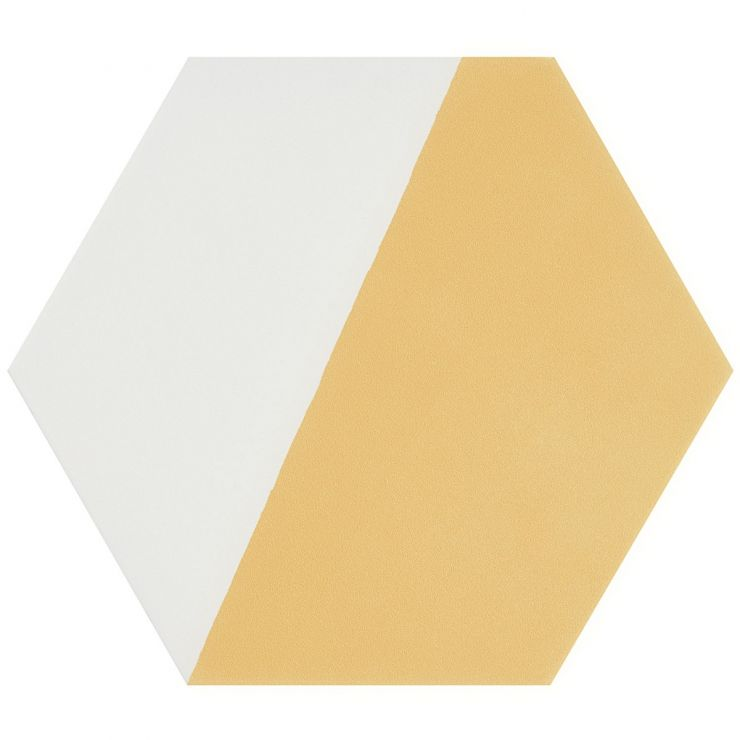 """HexArt Pop Yellow 8"""" Hex Matte Porcelain Tile; in Yellow + White Porcelain; for Backsplash, Floor Tile, Wall Tile, Bathroom Floor, Bathroom Wall, Shower Wall, Outdoor Wall, Commercial Floor; in Style Ideas Mid Century, Transitional, Whimsical"""