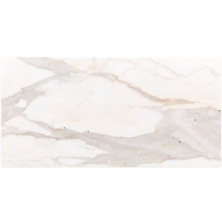Calacatta Oro 12X24 Polished; in White w/ Gray & Gold Veins Calacatta; for Backsplash, Floor Tile, Wall Tile, Bathroom Floor, Bathroom Wall, Shower Wall, Outdoor Wall, Commercial Floor; in Style Ideas Art Deco, Classic, Contemporary, Modern, Traditional