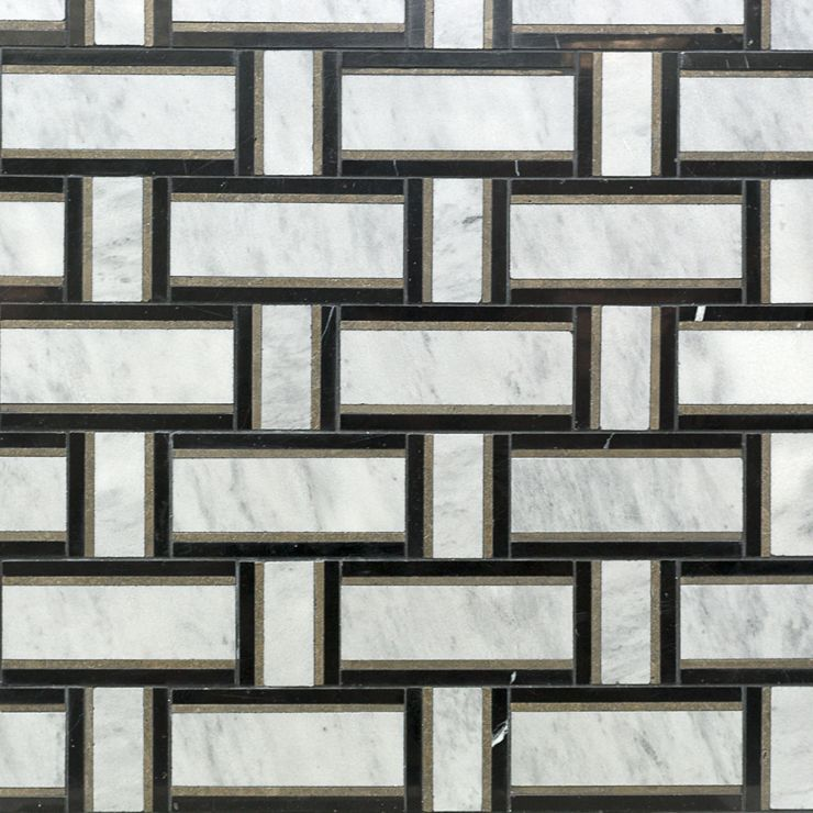 Esplanade  Cindersmoke Mosaic; in Gray + White + Black Malaysia Gray with Lagos and Nero Marquina; for Backsplash, Floor Tile, Wall Tile, Bathroom Floor, Bathroom Wall, Shower Wall, Shower Floor, Outdoor Wall, Commercial Floor; in Style Ideas Classic, Craftsman, Transitional