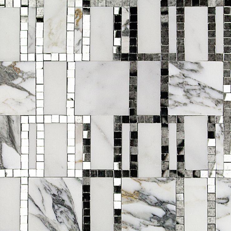 Kelli Ellis Kasos Marble Mosaic; in Calacatta + Mirror Calacatta; for Backsplash, Wall Tile, Bathroom Wall, Shower Wall; in Style Ideas Art Deco, Mid Century