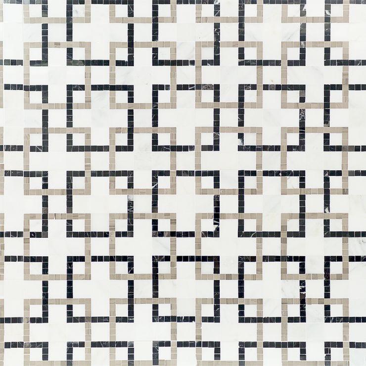 Labyrinth   Mosaic; in White + Gray + Black Asian Statuary & Black Marble & Athens Gray; for Backsplash, Floor Tile, Wall Tile, Bathroom Floor, Bathroom Wall, Shower Wall, Shower Floor, Outdoor Wall, Commercial Floor; in Style Ideas Art Deco, Mid Century, Modern