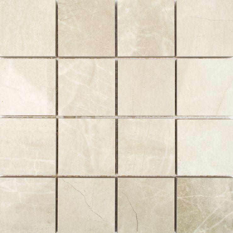 Kashmir Hueso 3x3 Mosaic; in Ivory Porcelain; for Backsplash, Floor Tile, Wall Tile, Bathroom Floor, Bathroom Wall, Shower Wall, Shower Floor, Outdoor Wall, Commercial Floor; in Style Ideas Art Deco, Craftsman, Modern
