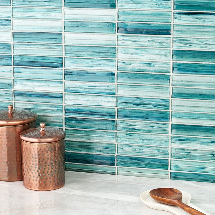 Maya Stacked Teal Polished Glass Mosaic; in Green Glass ; for Backsplash, Wall Tile, Bathroom Wall, Shower Wall; in Style Ideas Beach, Contemporary, Mediterranean, Tropical