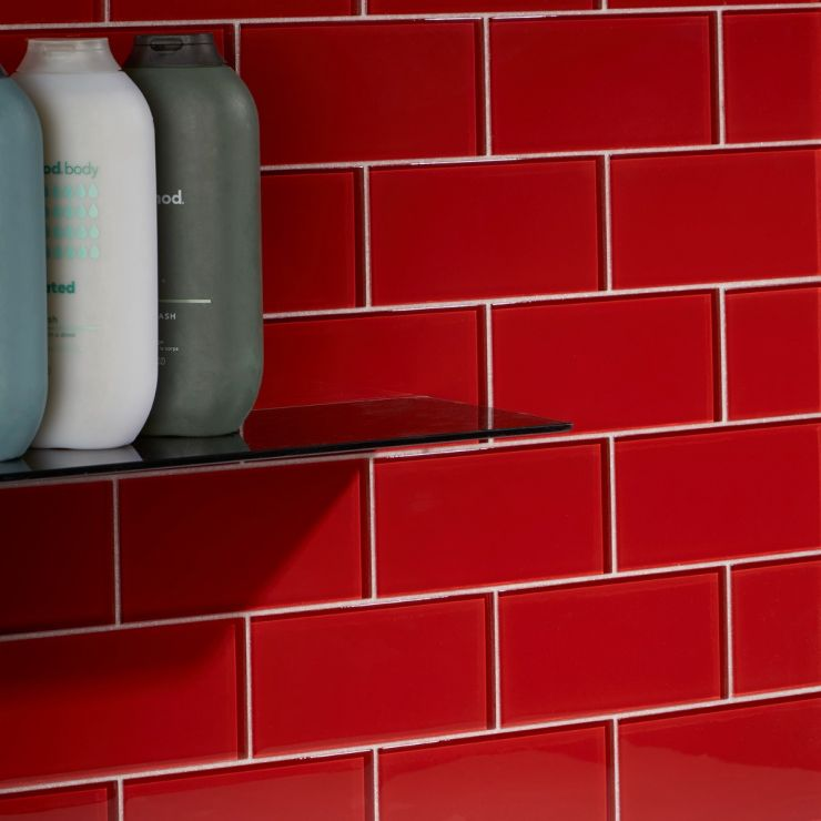 Loft Cherry Red 3X6 Polished; in Cherry Red Glass; for Backsplash, Wall Tile, Bathroom Wall, Shower Wall, Outdoor Wall, Pool Tile; in Style Ideas Beach, Classic, Farmhouse, Transitional