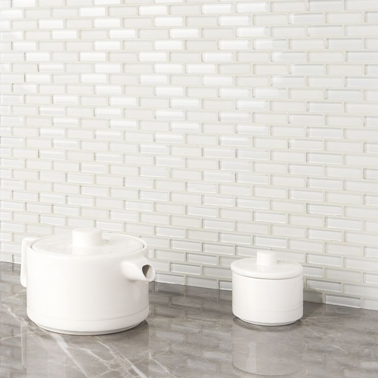 Loft Super White 1/2X2 Brick Mosaic; in White Glass; for Backsplash, Wall Tile, Bathroom Wall, Shower Wall, Outdoor Wall, Pool Tile; in Style Ideas Beach, Farmhouse, Traditional