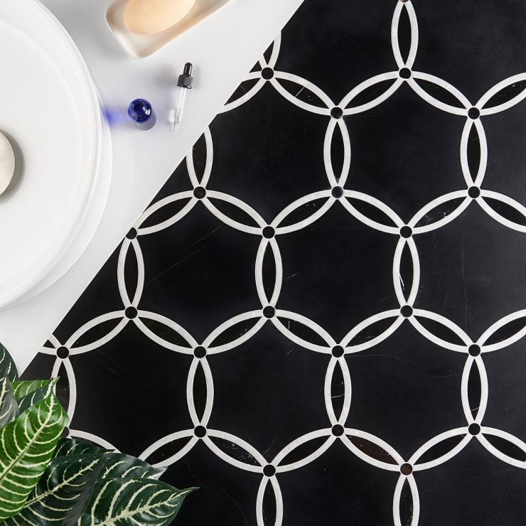 Celine Nero Polished Marble and Pearl Mosaic; in Black + White Marble; for Backsplash, Floor Tile, Kitchen Floor, Kitchen Wall, Wall Tile, Bathroom Floor, Bathroom Wall, Shower Wall, Shower Floor, Commercial Floor, Pool Tile; in Style Ideas Art Deco, Classic, Craftsman, Mid Century, Modern, Traditional