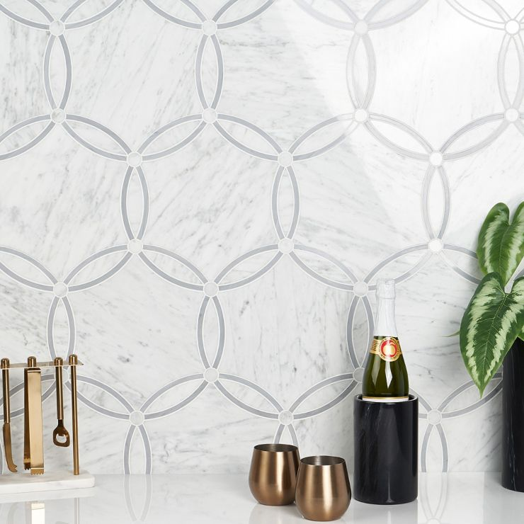 Celine Carrara Polished Marble Mosaic; in White + Gray Marble; for Backsplash, Floor Tile, Kitchen Floor, Kitchen Wall, Wall Tile, Bathroom Floor, Bathroom Wall, Shower Wall, Shower Floor, Commercial Floor, Pool Tile; in Style Ideas Art Deco, Classic, Craftsman, Mid Century, Modern, Traditional