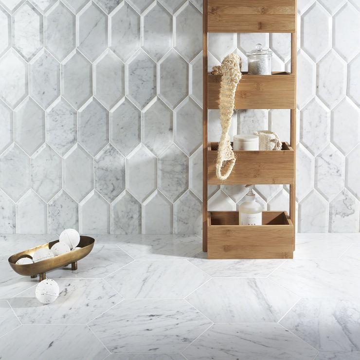Beveled Carrara Hexagon; in White w/Gray Carrara; for Backsplash, Wall Tile, Bathroom Wall, Shower Wall, Outdoor Wall; in Style Ideas Art Deco, Contemporary, Modern, Traditional