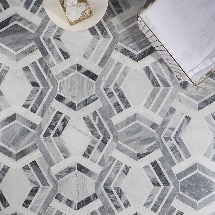 Mezzo Canta Polished Marble Mosaic ; in Gray + White Marble ; for Backsplash, Floor Tile, Wall Tile, Bathroom Floor, Bathroom Wall, Shower Wall, Shower Floor, Outdoor Wall, Commercial Floor; in Style Ideas Art Deco, Mid Century