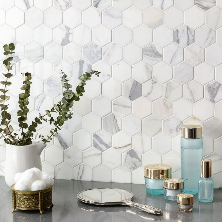 """Calacatta 2"""" Hexagon Polished; in White w/ Gray & Gold Veins Calacatta; for Backsplash, Floor Tile, Kitchen Floor, Kitchen Wall, Wall Tile, Bathroom Floor, Bathroom Wall, Shower Wall, Shower Floor, Outdoor Floor, Outdoor Wall, Commercial Floor; in Style Ideas Art Deco, Classic, Craftsman, Contemporary, Modern, Traditional, Transitional"""