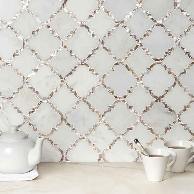 Cassie Chapman Eva Marble & Tile  Mosaic; in White/Gray & Brown Asian Statuary; for Backsplash, Wall Tile, Bathroom Wall, Shower Wall; in Style Ideas Beach, Classic