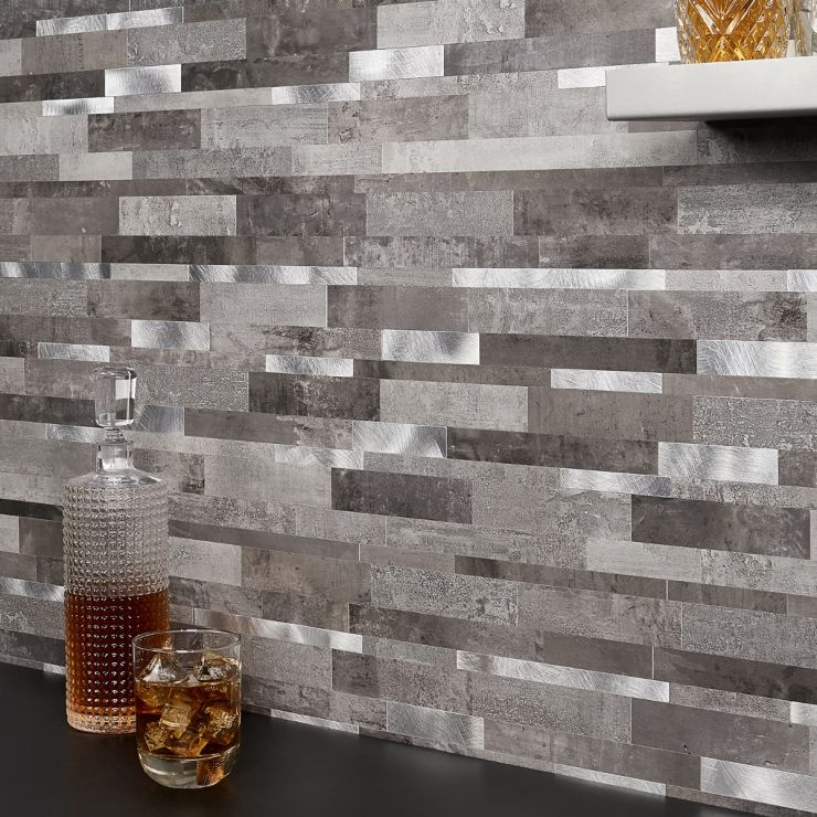 in Gray + Silver Aluminum + Solid Polymer Core (SPC); for Backsplash, Wall Tile, Bathroom Wall; in Style Ideas Rustic, Contemporary, Industrial, Modern