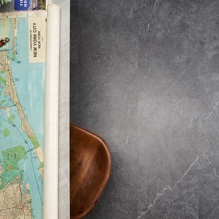 Optoro Sandstone Dark Gray 28mil Rigid Core Click 12x24 Luxury Vinyl Plank Flooring; in Dark Gray Luxury Vinyl; for Floor Tile, Bathroom Floor, Commercial Floor; in Style Ideas Industrial, Modern, Traditional