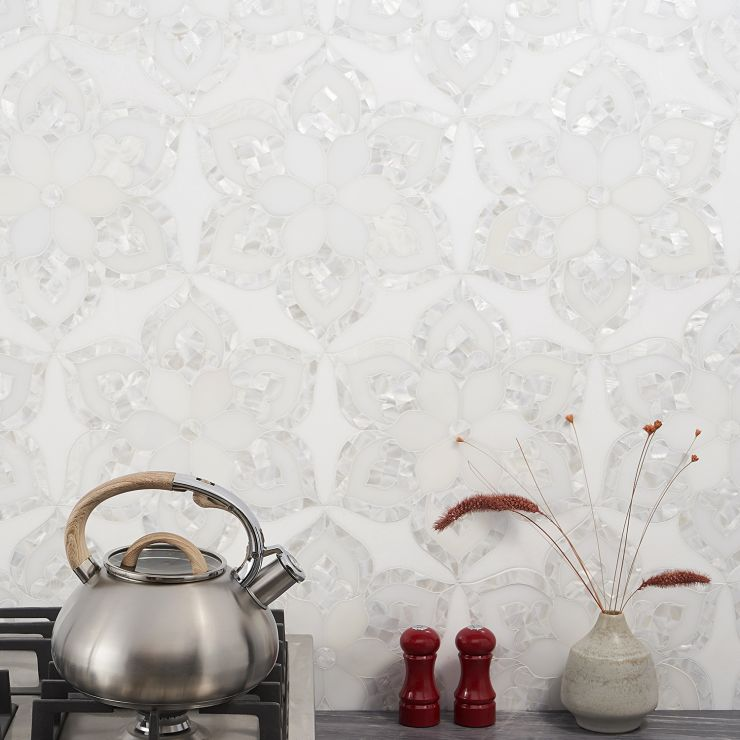 Aurora  Mosaic; in White & Pearl Thassos; for Backsplash, Floor Tile, Wall Tile, Bathroom Floor, Bathroom Wall, Shower Wall, Outdoor Wall; in Style Ideas Mid Century