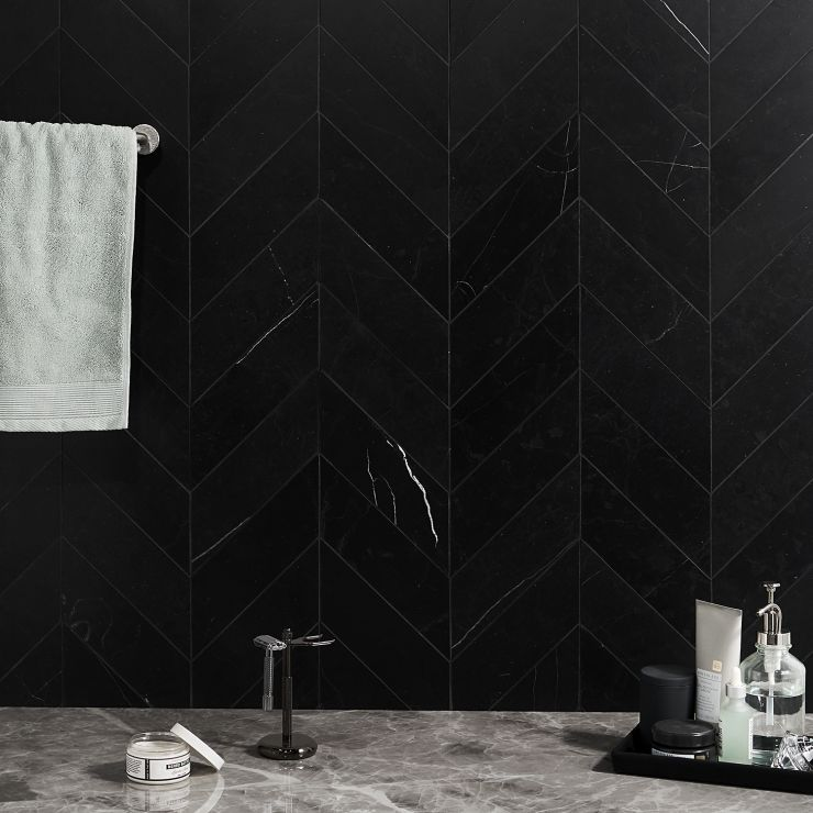 Nero Marquina  3 x 12 Honed Chevron Marble; in Black  Nero Marquina ; for Backsplash, Floor Tile, Wall Tile, Bathroom Floor, Bathroom Wall, Shower Wall, Shower Floor, Outdoor Floor, Outdoor Wall, Commercial Floor; in Style Ideas Modern