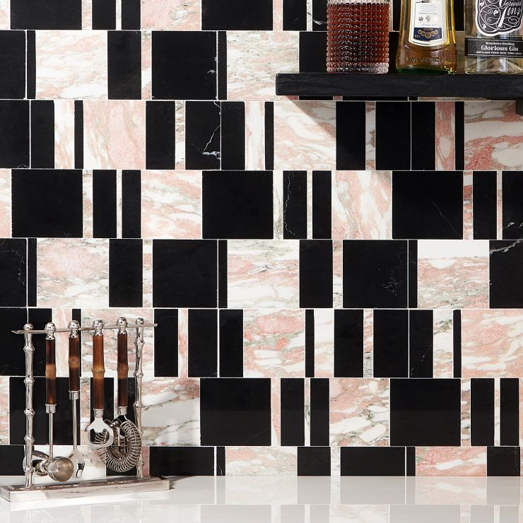 Alayah  Rosa Polished Marble Mosaic; in Pink + Black + White Marble ; for Backsplash, Floor Tile, Wall Tile, Bathroom Floor, Bathroom Wall, Shower Wall, Shower Floor, Outdoor Wall, Commercial Floor; in Style Ideas Art Deco, Contemporary
