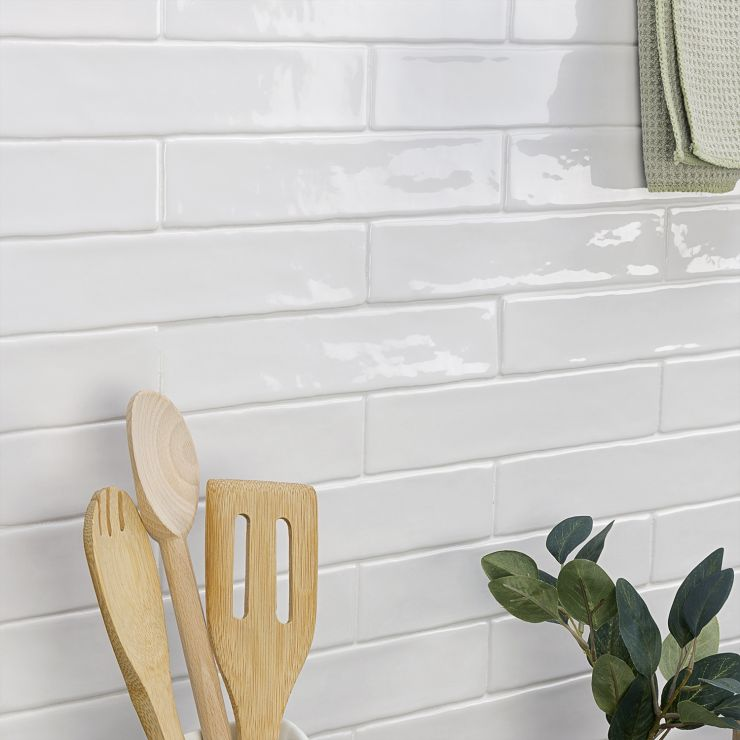 Seaport Arctic 2X10 Tile; in White White Body Ceramic; for Backsplash, Wall Tile, Bathroom Wall, Shower Wall; in Style Ideas Beach, Cottage, Farmhouse, Traditional