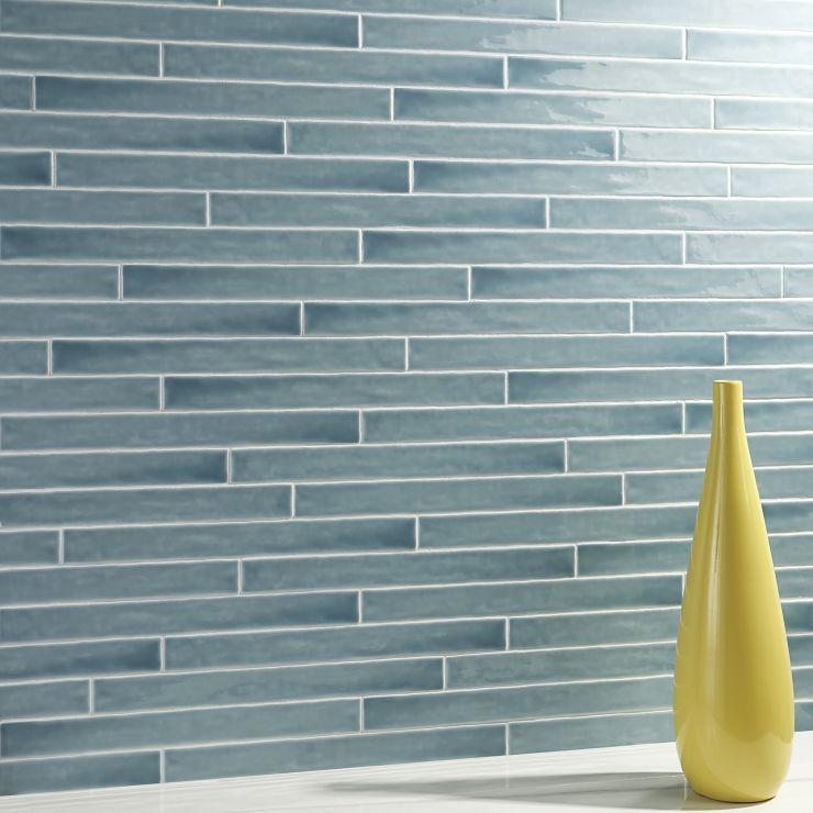 Carolina  Sky 2X20 Polished Ceramic; in Blue White Body; for Backsplash, Wall Tile, Bathroom Wall, Shower Wall; in Style Ideas Beach, Classic, Farmhouse, Transitional