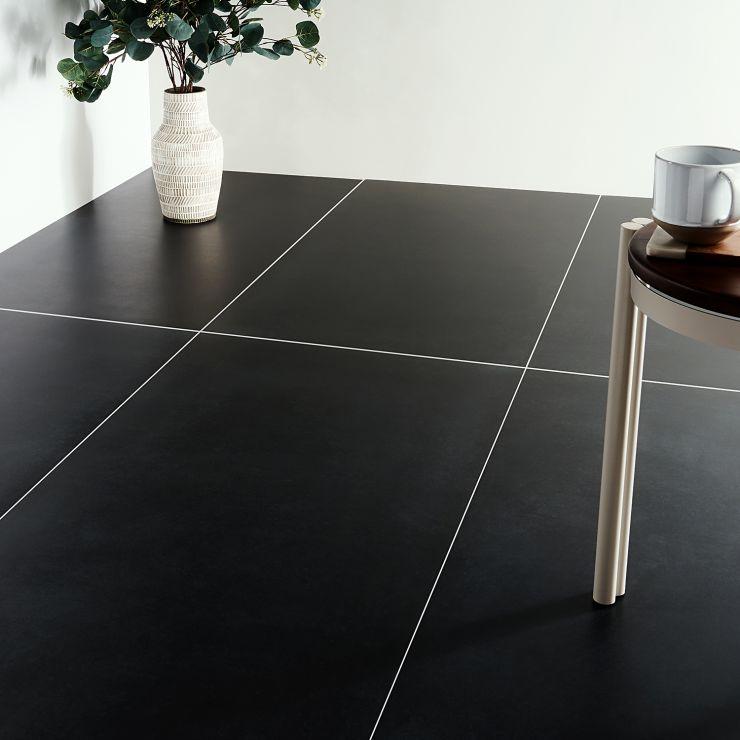 Lines Black 24X48; in Black Porcelain; for Backsplash, Floor Tile, Wall Tile, Bathroom Floor, Bathroom Wall, Shower Wall, Outdoor Wall, Commercial Floor; in Style Ideas Contemporary, Industrial, Mid Century, Modern