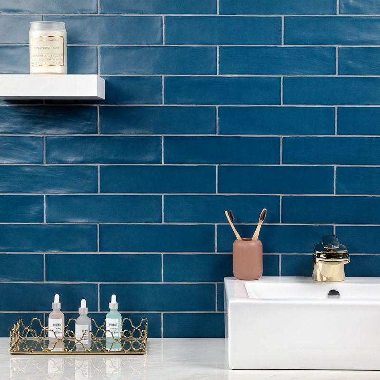 Bayou Marine 3X12 Matte ; in Dark Blue White Body Ceramic; for Backsplash, Wall Tile, Bathroom Wall, Shower Wall; in Style Ideas Beach, Classic, Farmhouse, Traditional
