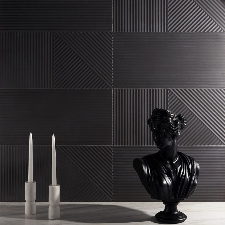 Renzo  Grafite 3D 12x24; in Gray Porcelain ; for Backsplash, Wall Tile, Bathroom Wall, Shower Wall, Outdoor Wall; in Style Ideas Craftsman, Mid Century, Modern