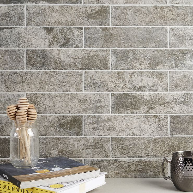 """Bricks Antracite 2.5"""" X 10"""" Matte ; in Gray + Beige  Ceramic ; for Backsplash, Wall Tile, Bathroom Wall, Shower Wall, Outdoor Wall; in Style Ideas Rustic, Classic, Craftsman, Industrial"""