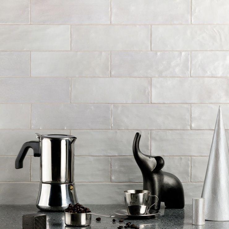 Montauk Fog 2X8; in Gray White Body Ceramic; for Backsplash, Wall Tile, Bathroom Wall, Shower Wall; in Style Ideas Beach, Craftsman, Cottage, Farmhouse, Mediterranean, Modern, Traditional