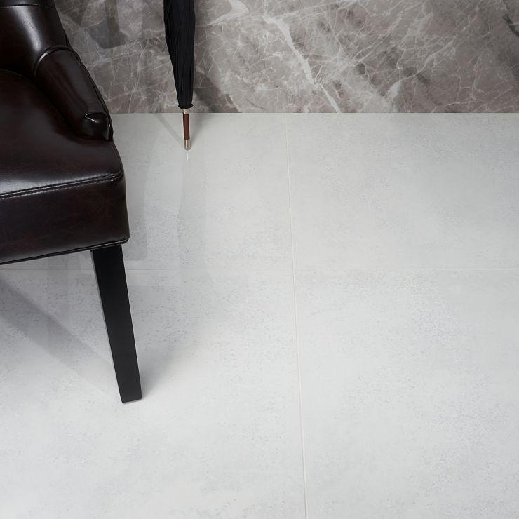 TruTech Bianco 24x24 Polished Porcelain; in White Porcelain; for Backsplash, Floor Tile, Wall Tile, Bathroom Floor, Bathroom Wall, Shower Wall, Outdoor Floor, Outdoor Wall, Commercial Floor; in Style Ideas Rustic, Craftsman, Industrial, Modern, Transitional
