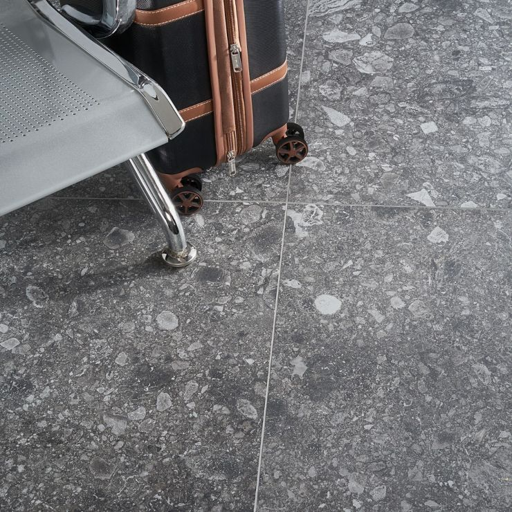 Rizo 2.0 Charcoal Matte 24x24 Porcelain; in Charcoal Porcelain; for Backsplash, Floor Tile, Wall Tile, Bathroom Floor, Bathroom Wall, Shower Wall, Outdoor Floor, Outdoor Wall, Commercial Floor; in Style Ideas Rustic, Classic, Craftsman, Industrial