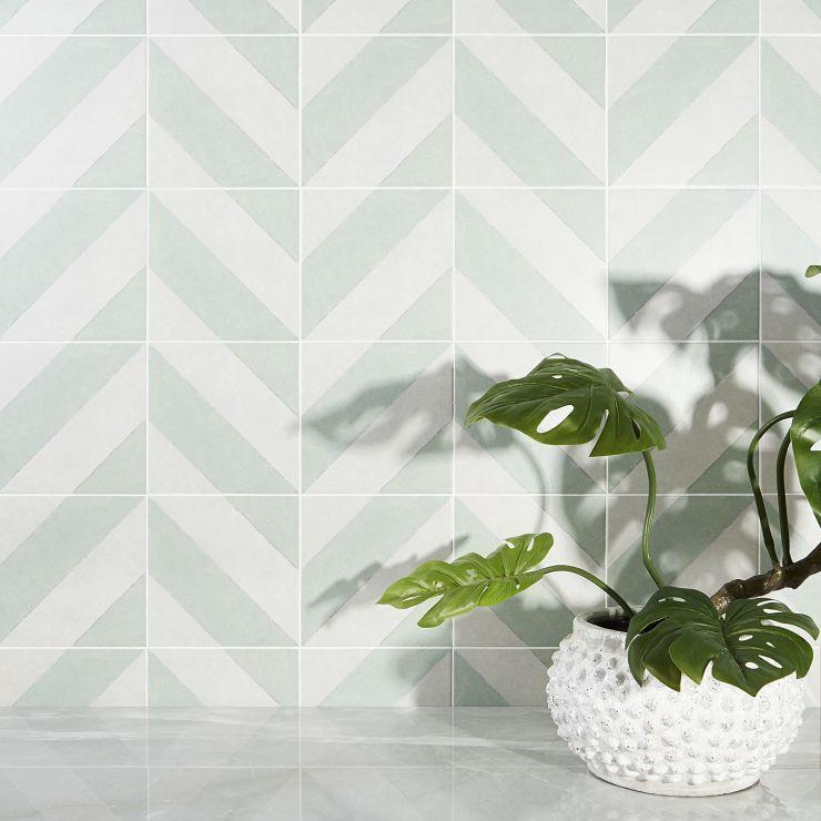Auteur  Diagonals Sage 9X9 Pattern 4; in Sage + White Porcelain ; for Backsplash, Floor Tile, Wall Tile, Bathroom Floor, Bathroom Wall, Shower Wall, Shower Floor, Outdoor Floor, Outdoor Wall, Commercial Floor; in Style Ideas Farmhouse, Mid Century
