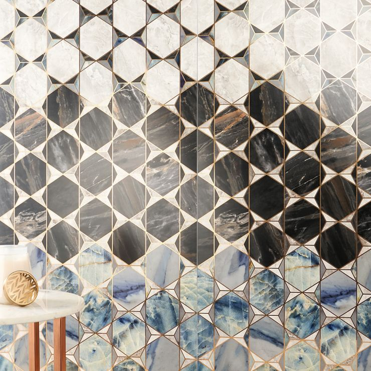 Imagine Stone  Decor Domino 24X48; in Cream + Black + Blue Porcelain ; for Backsplash, Wall Tile, Bathroom Wall, Shower Wall, Outdoor Wall; in Style Ideas Mid Century, Whimsical