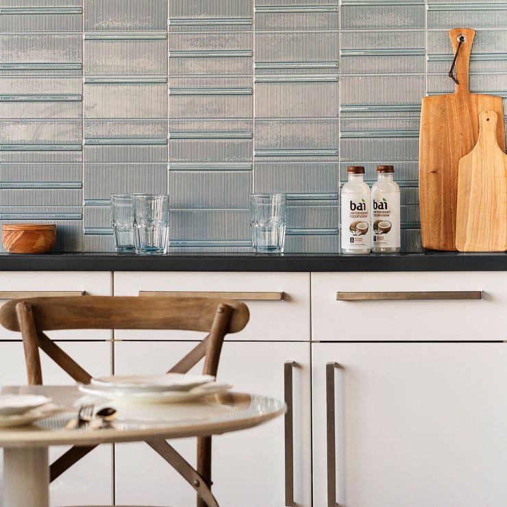 Vector Reverb Azul 4X8; in Blue Ceramic; for Backsplash, Wall Tile, Bathroom Wall, Shower Wall; in Style Ideas Art Deco, Beach, Modern, Tropical, Whimsical