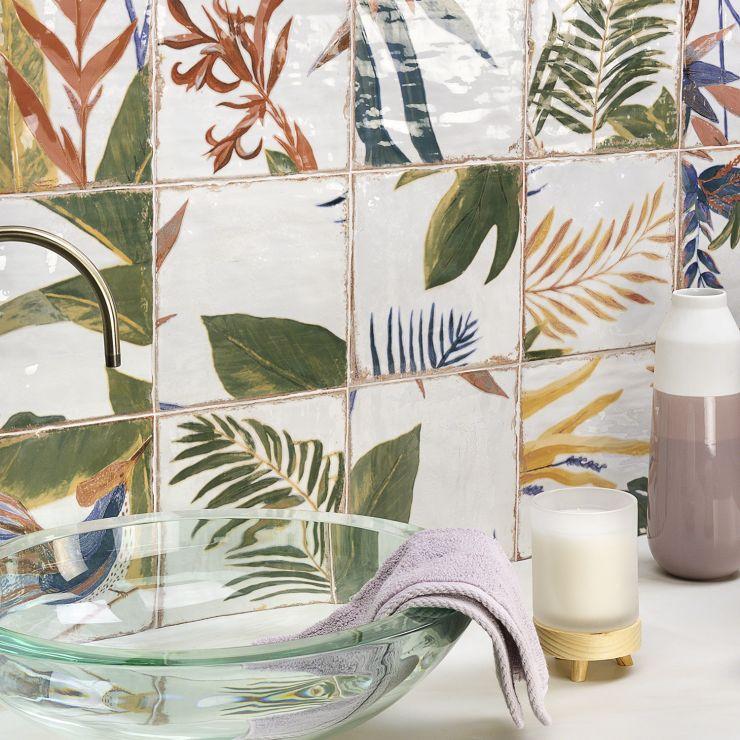 Angela Harris  Dunmore Sonata Decor 8X8; in Green + Blue + Red- Brown + Cream Ceramic; for Backsplash, Wall Tile, Bathroom Wall, Shower Wall; in Style Ideas Beach, Craftsman, Farmhouse, Mediterranean, Tropical, Whimsical