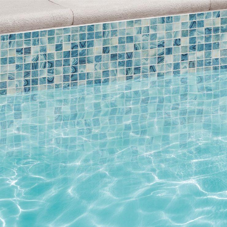 Swim Iris 1x1 Glass Mosaic; in Turquoise Glass; for Backsplash, Wall Tile, Bathroom Floor, Bathroom Wall, Shower Wall, Shower Floor, Outdoor Wall, Pool Tile; in Style Ideas Beach, Classic, Contemporary, Mediterranean, Tropical