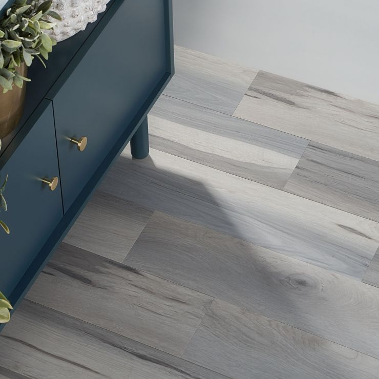 Sky Hickory Bliss 12mil Rigid Core Click 6x48 Luxury Vinyl Tile; in Blue LVT; for Floor Tile, Bathroom Floor, Commercial Floor; in Style Ideas Beach, Classic, Contemporary, Traditional, Transitional, Tropical; released 2021; new, trends