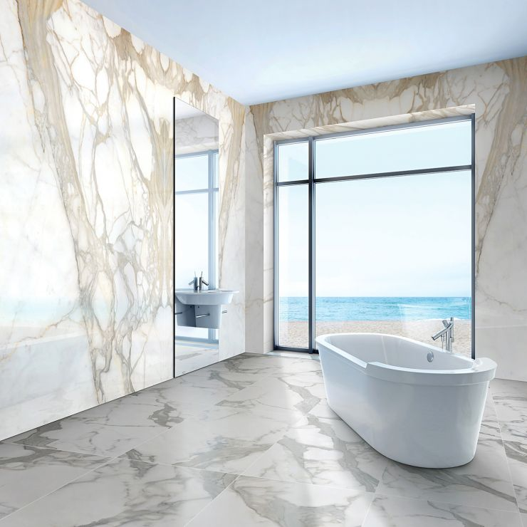 """TilebarXL Marmi Slim Bernini Oro 60"""" x 120"""" Polished; in Brown and White Porcelain ; for Backsplash, Wall Tile, Bathroom Wall, Shower Wall, Outdoor Wall, Commercial Floor; in Style Ideas Art Deco"""