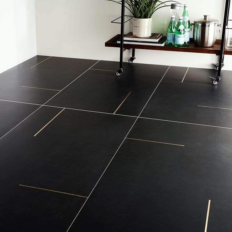Lines Brass Inlay Black 24X48; in Black Porcelain; for Backsplash, Floor Tile, Wall Tile, Bathroom Floor, Bathroom Wall, Shower Wall, Outdoor Wall, Commercial Floor; in Style Ideas Contemporary, Industrial, Mid Century, Modern