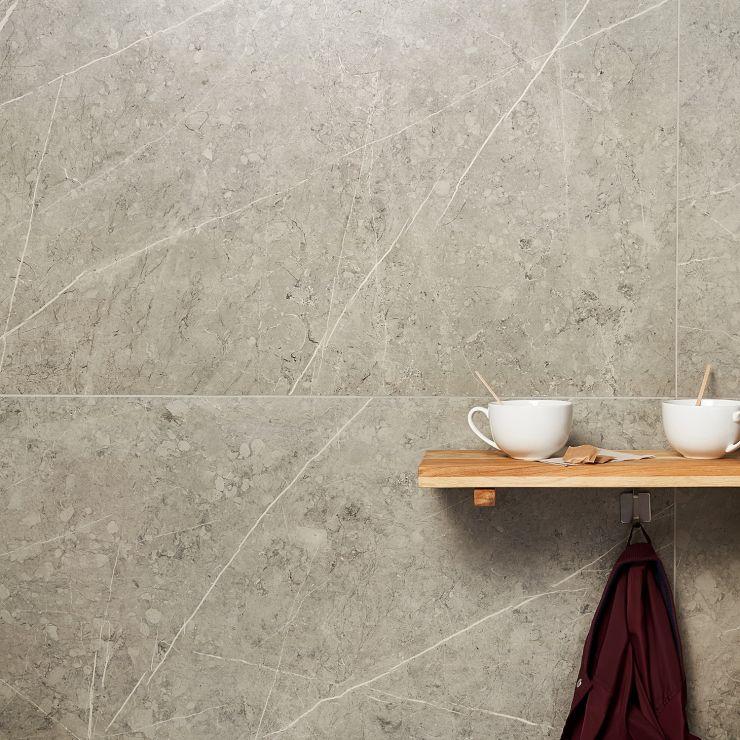 Basic Marble Pietra Light Gray 24x48 Satin ; in Gray Porcelain ; for Backsplash, Floor Tile, Wall Tile, Bathroom Floor, Bathroom Wall, Shower Wall, Outdoor Floor, Outdoor Wall, Commercial Floor; in Style Ideas Art Deco, Classic, Modern, Traditional