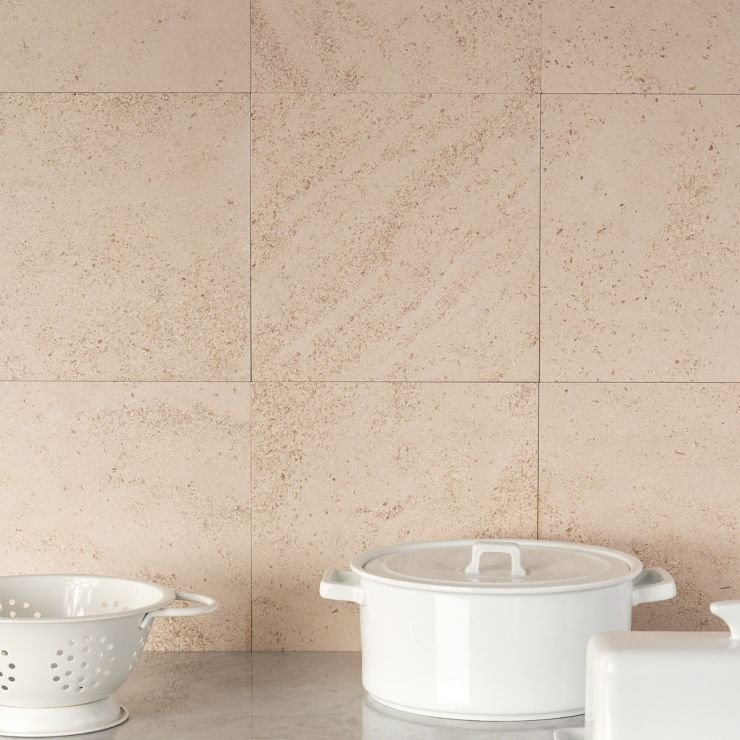 Michael Habachy Barcode 3D Liso Golden Beach 8x8; in Beige Limestone; for Backsplash, Floor Tile, Wall Tile, Bathroom Floor, Bathroom Wall, Shower Wall, Outdoor Wall, Commercial Floor; in Style Ideas Craftsman, Mid Century, Modern