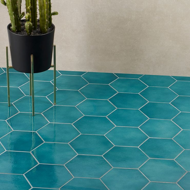 """Cavallo  Fiji 7"""" Polished Porcelain; in Blue + Turquoise Porcelain ; for Backsplash, Floor Tile, Wall Tile, Bathroom Floor, Bathroom Wall, Shower Wall, Shower Floor, Outdoor Floor, Outdoor Wall, Commercial Floor, Pool Tile; in Style Ideas Beach, Craftsman, Mid Century, Mediterranean, Transitional, Tropical"""