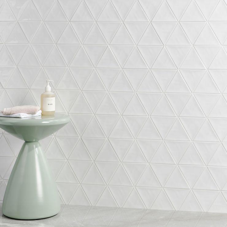 Bellami Triangulo Bianco 5x4 Glossy Ceramic; in White  Ceramic ; for Backsplash, Wall Tile, Bathroom Wall, Shower Wall, Outdoor Wall; in Style Ideas Beach, Classic, Craftsman, Farmhouse, Traditional