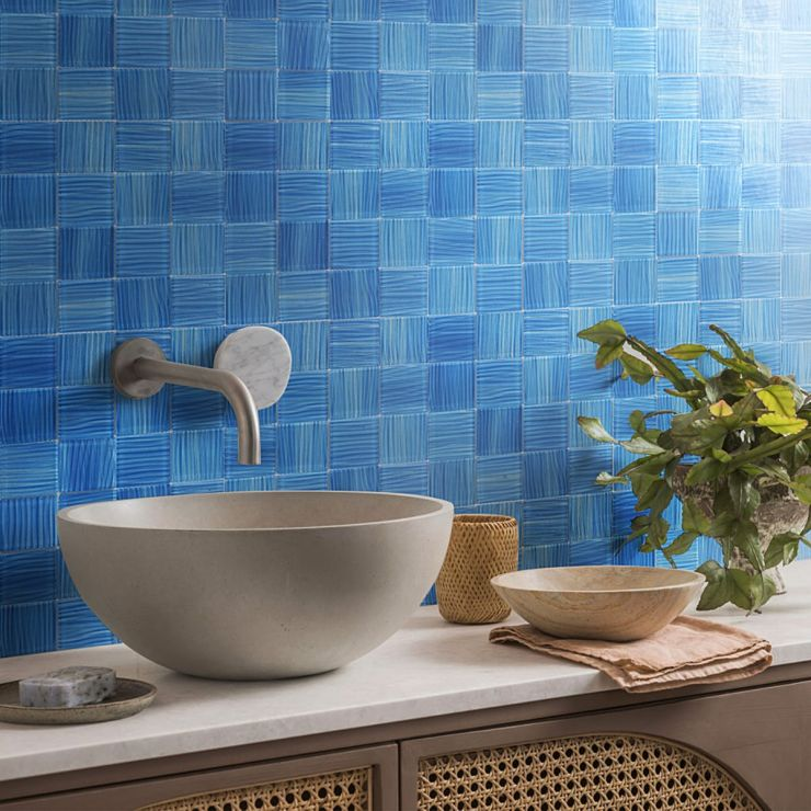 Bimini Azure 3x3 Polished Glass Mosaic; in Blue Glass; for Backsplash, Wall Tile, Bathroom Wall, Shower Wall, Outdoor Wall, Pool Tile