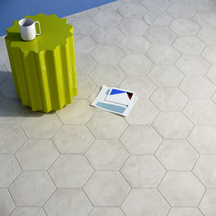 """Ava Bianco 8"""" Hex Matte Porcelain Tile; in White Porcelain; for Backsplash, Floor Tile, Wall Tile, Bathroom Floor, Bathroom Wall, Shower Wall, Shower Floor, Outdoor Floor, Outdoor Wall, Commercial Floor; in Style Ideas Classic, Craftsman, Contemporary, Industrial, Mid Century, Mediterranean, Modern, Traditional, Transitional, Tropical; released 2021; new, trends"""