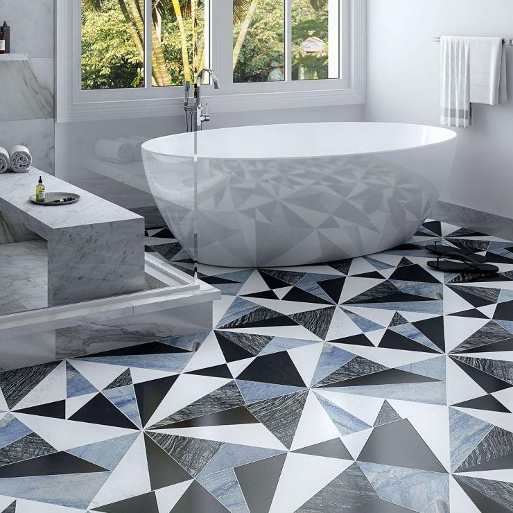 Jagger Nero Blue Marble Mosaic Tile