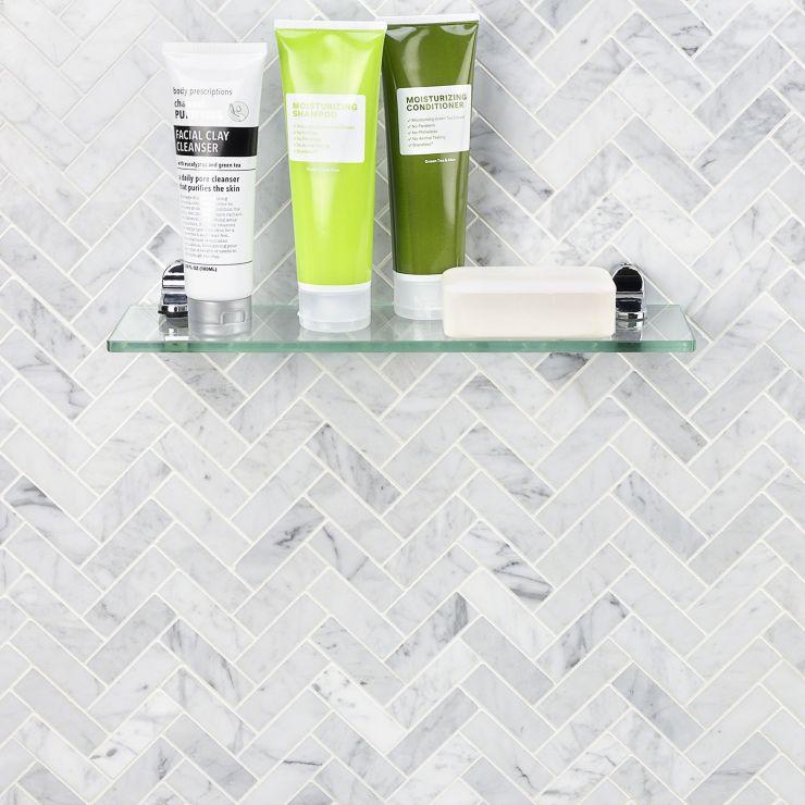 Carrara 1X3 Herringbone Polished; in White w/Gray Carrara; for Backsplash, Floor Tile, Wall Tile, Bathroom Floor, Bathroom Wall, Shower Wall, Shower Floor, Outdoor Floor, Outdoor Wall, Commercial Floor; in Style Ideas Contemporary, Modern, Traditional